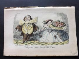 Cruikshank C1860 HCol Satire Print. Will you be our Vis a Vis